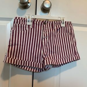 Stripped Forever 21 Button-Up Shorts